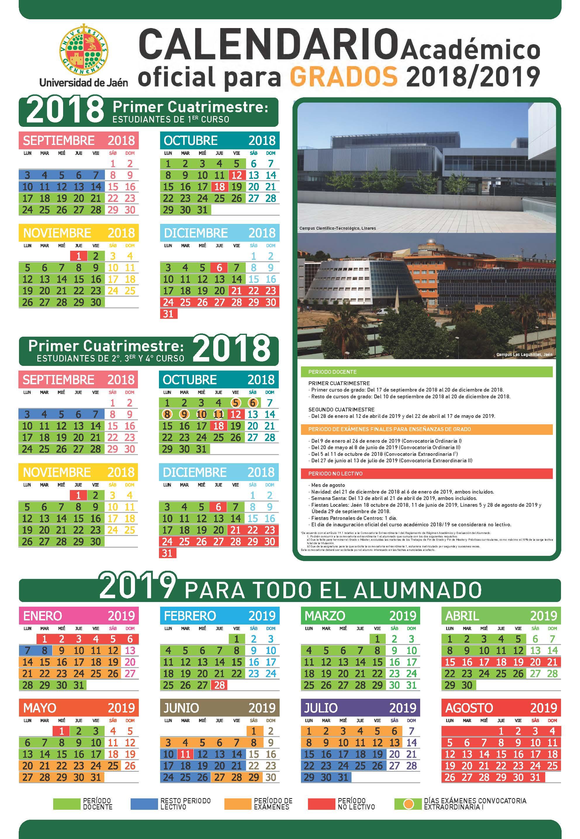 Calendario Ujaen.Calendario Academico Curso 2018 2019 Facultad De Ciencias